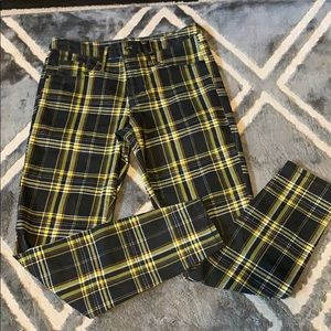 Black and yellow plaid skinny jeans